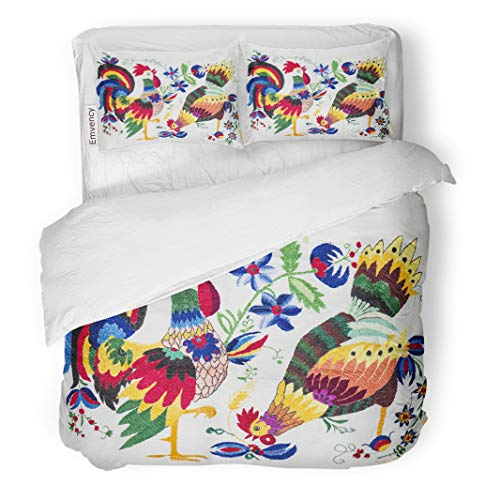(Semtomn Decor Duvet Cover Set Twin Size Colorful Abstract Ukrainian Folk Green Bird Canvas Chicken Craft 3 Piece Brushed Microfiber Fabric Print Bedding Set Cover)