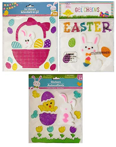 Tulip Basket - Mixed Easter Decorations | Window Gel Clings Bundle 3 Sheets | Over Pieces 40 Pieces Includes Bunnies, Baby Chick, Easter Eggs, Basket, Spring Tulips, and More