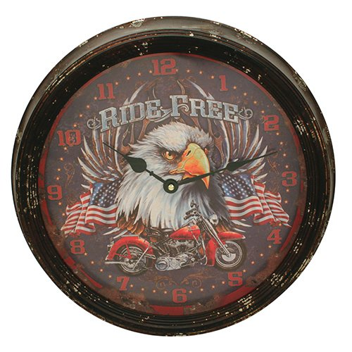 Rivers Edge Products Metal Clock, 15-Inch, Motorcycle
