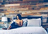 Weekend Walls - Reclaimed Weathered Redwood - DIY Easy Peel and Stick Wood Wall Paneling (20 Sq Ft, Natural)