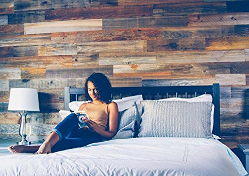 Weekend Walls - Reclaimed Weathered Redwood - DIY Easy Peel and Stick Wood Wall Paneling (10 Sq Ft, - 10 Wall Border