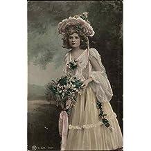 Woman Wearing Pink Flouncy Dress and Hat Women Original Vintage Postcard