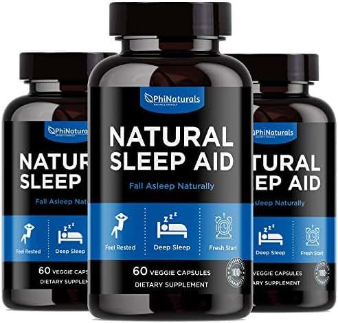Natural Sleep Aid (Pack of 3)   with Melatonin, GABA, Valerian Root, Passion Flower, Skullcap & Chamomile   Sleeping Pills Alternative by Phi Naturals
