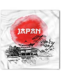 Japan Bandana by Lunarable, Sketch and Watercolor Style Traditional Architecture with Nature Elements, Printed Unisex Bandana Head and Neck Tie Scarf Headband, 22 X 22 Inches, Dark Coral Black White