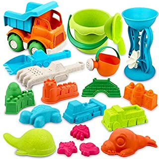 Beach Toys Set Wheat straw Sand Toys Bucket Shovel and Water Wheel Sand Molds 19pcs with Mesh Bag
