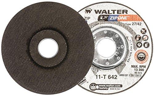 Walter Surface Technologies 11T642 Walter ZIP One High Performance Cut-off Wheel, Metal Hub Quick Change Symmetrical, Aluminum Oxide, 4-1/2
