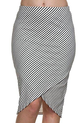 Kathy Womens Textured Striped Envelope Pencil Skirt (Large, White/Black Stripe 07) (Pencil Skirt Textured)
