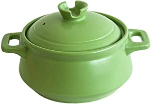 CJVJKN Casserole,Ceramic Round Casserole, Mini Slow Cooker with Dual Handles and Lid, Great for Cooking, Basting, or Baking, 2.5L/3.5L Green (Color : 2.5L)