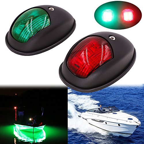 Obcursco LED Boat Navigation Lights, Boat Bow Light,Marine Boat Navigation lamp. Perfect for Pontoon, Skeeter, Power Boat and Skiff (Black) (Lights Running Boat)
