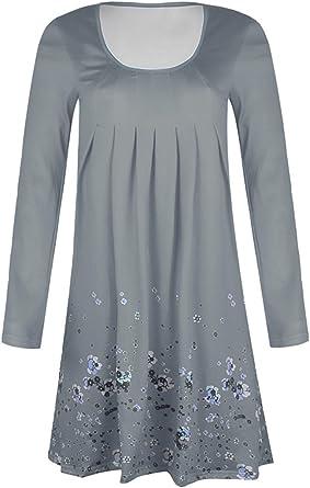 Zilcremo damska luźna kwiatowa tunika sukienka na imprezę z długimi rękawami sukienka - tunika: Odzież