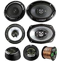3 Pair Car Speaker Package Of 2x Kenwood KFC1665S 6.5 2-Way Audio Speaker Bundle Combo With 2x 6965S 6x9 400W 3-Way Speaker + 2x 1 Inch 160-Watt Dome Tweeters + Enrock 16g 50 Ft Speaker Wire