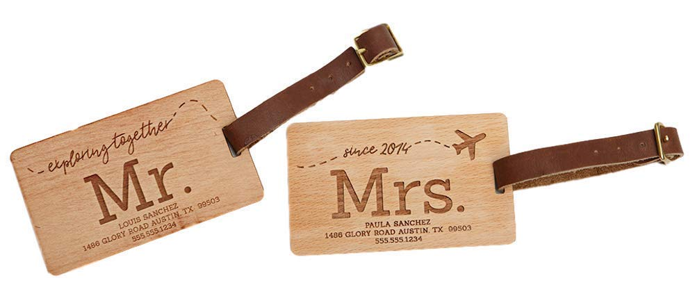Personalized Mr and Mrs Luggage Tags 2.5'' x 4'' - Unique Travel Gifts for Couples, Engraved and Made of Wood (Beech Wood Type, Mr. & Mrs. Sanchez Design)