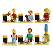 The Simpsons Lego Minifigure 6 Set Action Figures Collectables (6 Pieces) Series Building Blocks with Lego