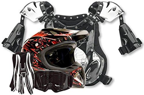 Adult Offroad Helmet Goggles Gloves Chest Protector GEAR COMBO Motocross ATV Dirt Bike Black Red Splatter (Small)