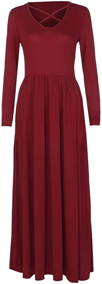 Babaseal Womens Long Sleeve Loose Plain Maxi Dresses Casual Long Dresses with Pockets