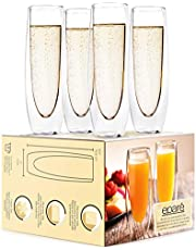 Glass Champagne Flutes - Set of 4 - Stemless Sparkling Wine Glasses - 5 oz - Mimosa Wine Flute for Weddings Bridesmaid Party and Bridal Showers -Eparé