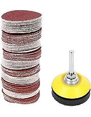100 st 2 tum sandskivor pad sats 60/80/120/180/240/320/400/600/800/1000 kornpolering sandpapper med 6,35 cm skaft bakplatta för borrkvarn roterande verktyg