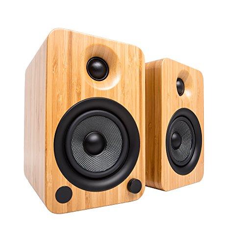 """Kanto 4"""" Powered Wireless 2-Way Bookshelf Speakers (Pair) Bamboo YU4BAMBOO"""