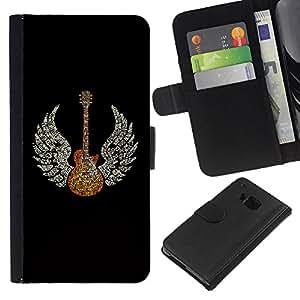 All Phone Most Case / Oferta Especial Cáscara Funda de cuero Monedero Cubierta de proteccion Caso / Wallet Case for HTC One M7 // Wings Guitar Music Rock Love Angel Art God Heaven
