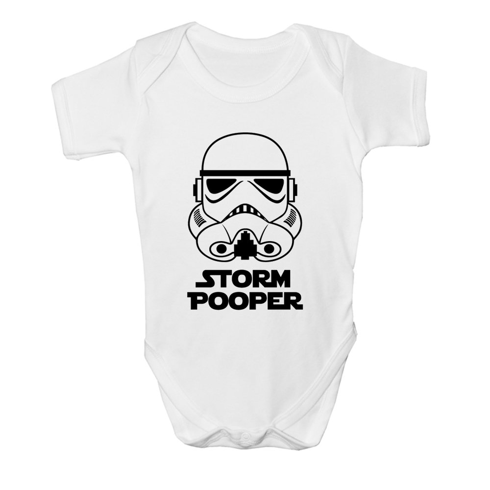 Storm Pooper Fun Star Wars Inspired Baby Boy Girl Sleepsuit Designed and Printed in the UK Using 100/% Fine Combed Cotton