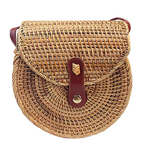 Bambus ♛ Round Retro Rattan Crossbody Bag Portable Flap Straw Beach Bag for Girls Circle Handwoven Shoulder Bag for Women
