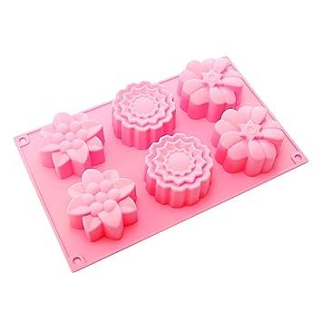 6 BestCool y Rosa moldes para magdalenas de silicona molde de pastel de postre de moldes