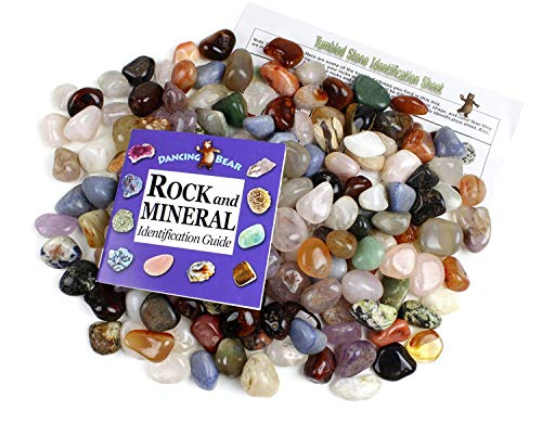 Tumbled Polished Natural Gem Stones 5 Pounds (lbs) + Educational Color ID Sheet & 27 Page Rock & Mineral Identification Book. Average Stone Size 1 inch, Limited Edition, Dancing Bear Brand (Healing Crystals Tumbled Mix)