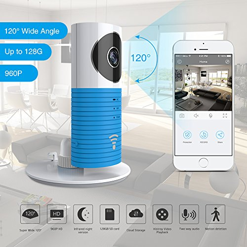 Cleverdog 960P 120°Wide Angle Lens Wireless Security WiFi Camera (Blue