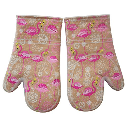 Oven Mitts Kitchen set Heat Resistant to 500 F With Transparent clear Silicone set of 2, Nice Flamingo Printing Cotton Lining, Oven Gloves for Cooking, Baking, Machine Washable for Women and Men Tan