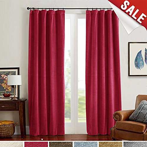 jinchan Half Blackout Velvet Curtains Red for Bedroom, Thermal Insulated Rod Pocket Window Curtain for Living Room (1 Panel, 95 Inch, Red)