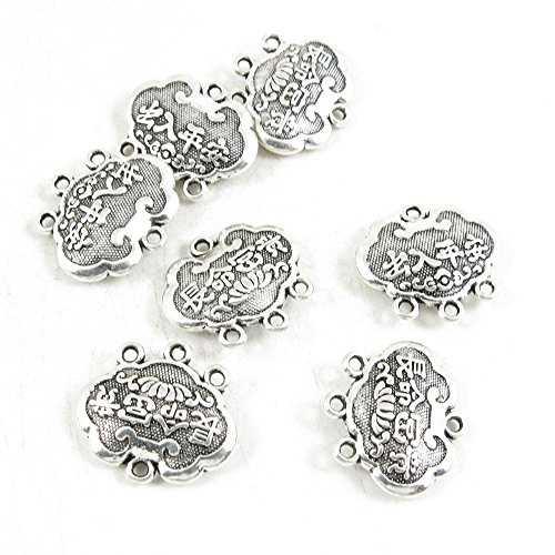 Qty 40 Pieces Silver Tone Jewelry Making Charms Filigrees P2SI8 Chinese Lucky Longevity Lock