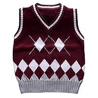 Happy Cherry Kids Knit Sweater Vest V-Neck Argyle Thicken Students Pullover