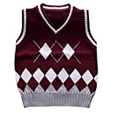 #9: Happy Cherry Kids Knit Sweater Vest V-Neck Argyle Thicken Students Pullover