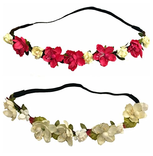 Handmade 2 PCS Set Women Girl Woven Floral Hair Band Flower Headband Crown Hair Garland Party Beach Beige and Fuchsia