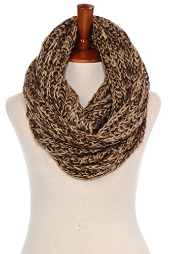 Basico Women Warm Circle Ring Infinity Scarf Neck Warmer Various Colors (1714 Cozy Brown)