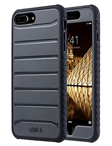 ULAK iPhone 8 Plus Case, iPhone 7 Plus Case, Heavy Duty Shockproof Flexible TPU Bumper Case Durable Anti-Slip Slim Front and Back Hard Protective Cover for iPhone 8 Plus/iPhone 7 Plus-Dark Grey