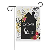 ALAZA Welcome Home Garden Flag Summer Flower Seasonal Garden Banner Outdoor Small Vertical Flags Double Sided Fade Resistant for Yard Outdoor Decorative 12 x 18 Inch