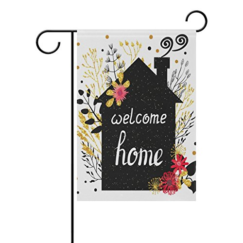Welcome Home Flag Garden - ALAZA Welcome Home Garden Flag Summer Flower Seasonal Garden Banner Outdoor Small Vertical Flags Double Sided Fade Resistant for Yard Outdoor Decorative 12 x 18 Inch