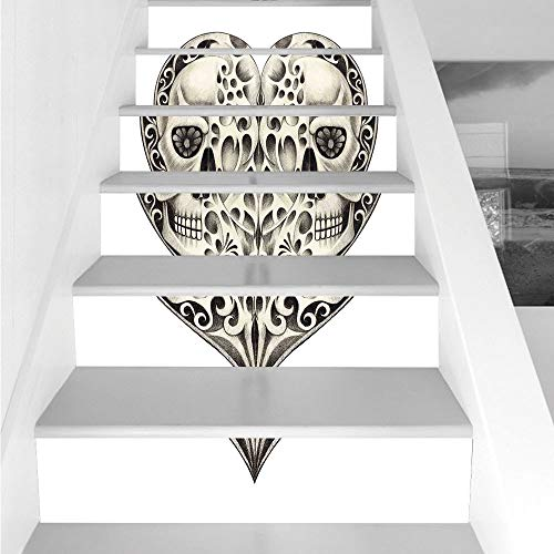 Stair Stickers Wall Stickers,6 PCS Self-adhesive,Day Of The Dead Decor,Twin Half Fire Design in Hearts Festive Spanish Image Print,Cream and Black,Stair Riser Decal for Living Room, Hall, Kids Room De