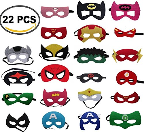 [THE BEST QUALITY] Superheroes Party Masks with ADJUSTABLE Elastic Band For Kids, Girls and Boys Birthday Supplies Halloween Decoration (22 Pieces) by Gazelle's (Superhero Face Masks)