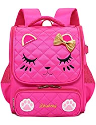 Hyundly Cute Cat Face Bowknot Girls School Backpacks For Pre-School Kindergarten one grade Backpacks