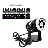 LED Projection Lamp Sliding Card Type Film Snowflake Shape Firinca Projection Light for Lawn Patio Garden Christmas Decorations (A)