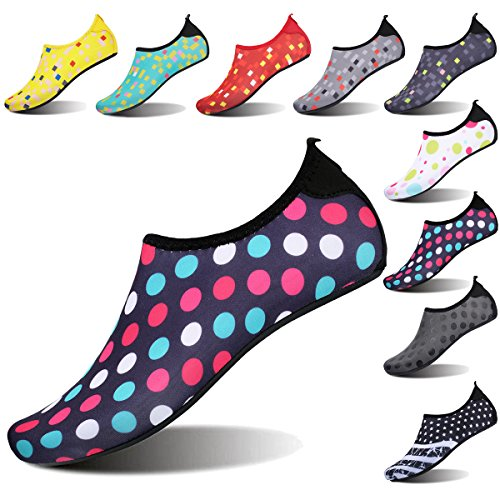 FEETCITY Womens Water Shoes Mens Water Footwear Quick-Dry Water Sports Beach Swim Shoes Dot Colorful M(W:7.5-8.5,M:6-7)