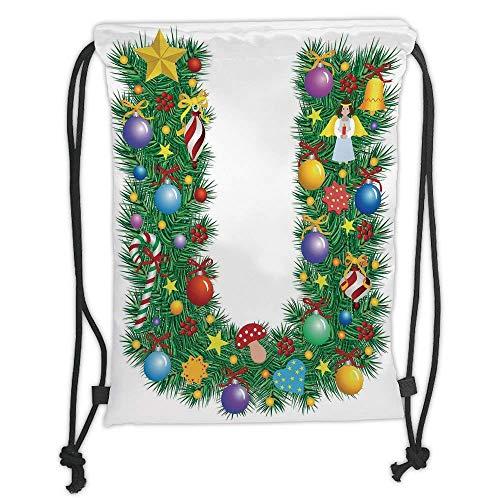 - Custom Printed Drawstring Backpacks Bags,Letter U,Candy Canes Mushrooms Angel Figure on Xmas Tree Seasonal Composition and Letter U Decorative,Multicolor Soft Satin,5 Liter Capacity,Adjustable St