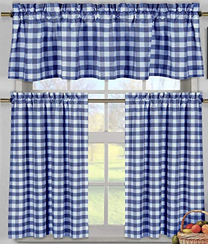 (lovemyfabric Poly Cotton Gingham Checkered Plaid Design 3-Piece Kitchen Curtain Valance Window Treatment Set (Royal blue))
