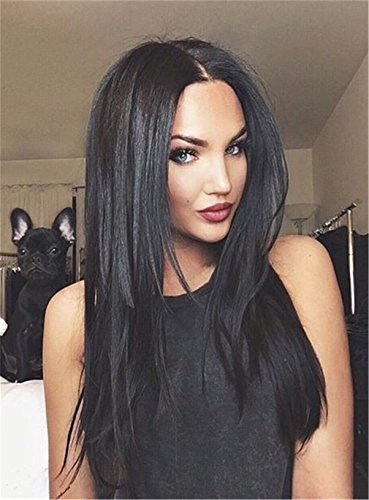 Sexy Natural Black Center Part Layered Cut Long Straight Synthetic Hair No Lace Cap Wigs for Women