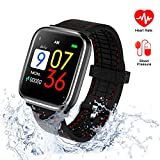 Fitness Tracker with Blood Pressure Monitor, Activity Tracker with Heart Rate Monitor, Waterproof Watch Swimming Running Sleep Monitor Pedometer Step Counter Kids Women Men Bluetooth Ios Android Phone