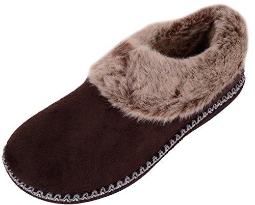 Sur Liaison Chaussures Brun Femmes Avec Microsuède Pantoufles Chaussures Bottines Absolues Glisser Décoratif D'intérieur De IwxB7wR