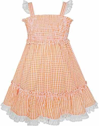 e902517ce07 Sunny Fashion Girls Dress Orange Tank Smocked Ruffle Skirt Size 12m-5