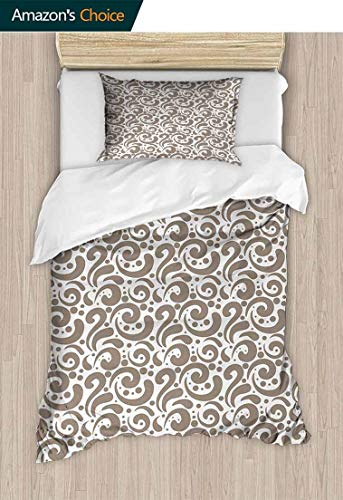 - Temox Art Full Queen Duvet Cover Sets, Swirled Curved Bold Lines Brushstrokes Big and Little Polka Dots Circular Abstract, Bedding Set for Teen 2PCS,63 W x 82 L Inches, Cocoa White